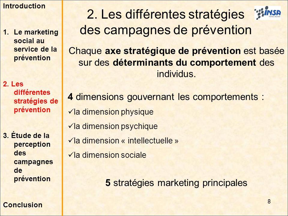 8 2. Les différentes stratégies des campagnes de prévention Chaque axe stratégique de prévention est basée sur des déterminants du comportement des in