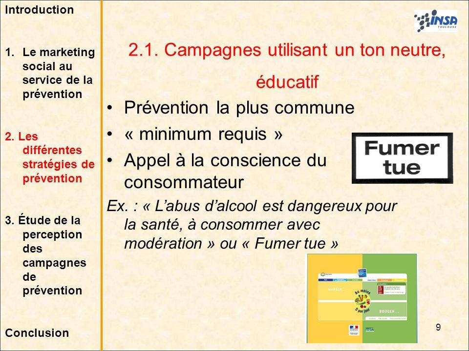 9 2.1. Campagnes utilisant un ton neutre, éducatif Prévention la plus commune « minimum requis » Appel à la conscience du consommateur Ex. : « Labus d