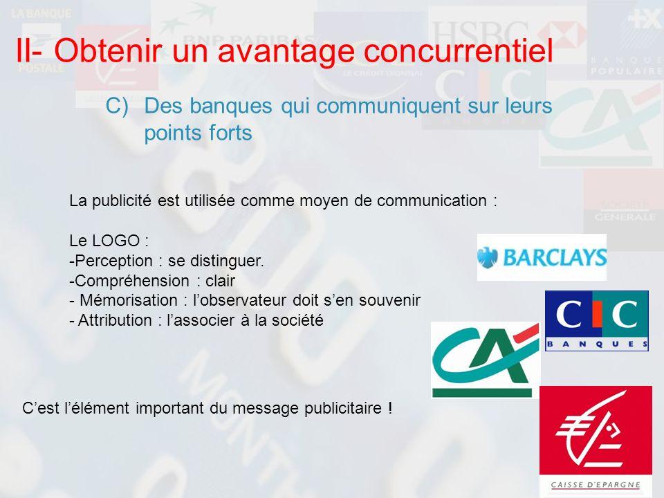 II- Obtenir un avantage concurrentiel C)Des banques qui communiquent sur leurs points forts La publicité est utilisée comme moyen de communication : L