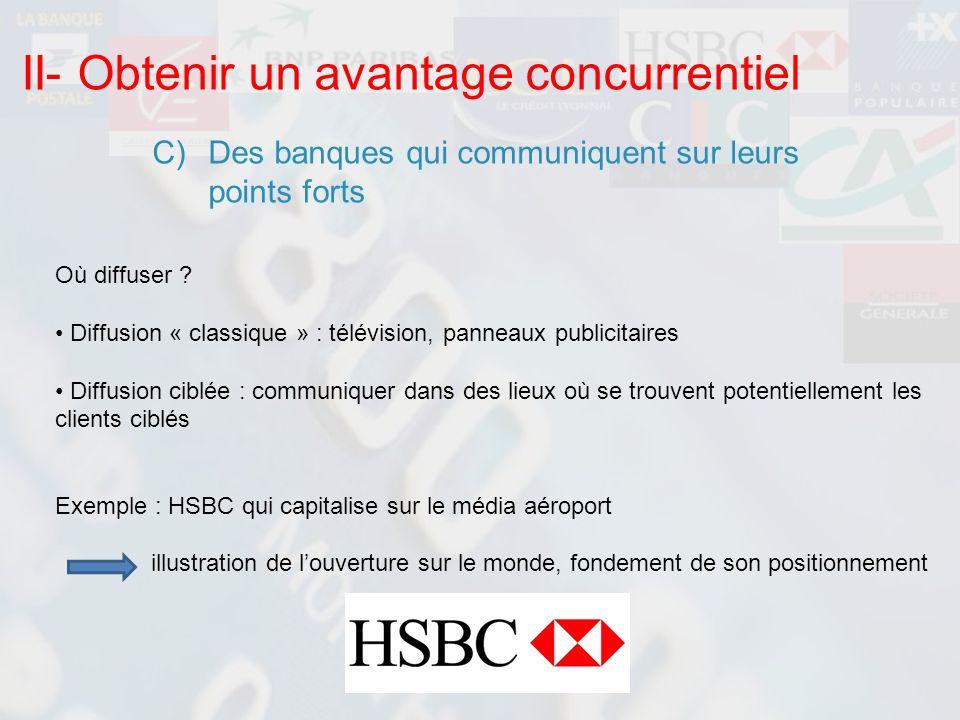 II- Obtenir un avantage concurrentiel C)Des banques qui communiquent sur leurs points forts Où diffuser ? Diffusion « classique » : télévision, pannea