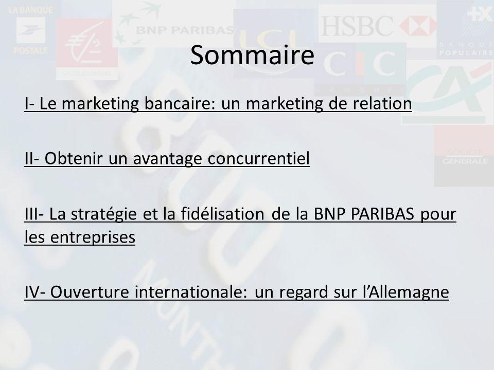 I- Le marketing bancaire: un marketing de relation II- Obtenir un avantage concurrentiel III- La stratégie et la fidélisation de la BNP PARIBAS pour l