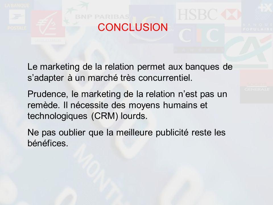 CONCLUSION Le marketing de la relation permet aux banques de sadapter à un marché très concurrentiel. Prudence, le marketing de la relation nest pas u