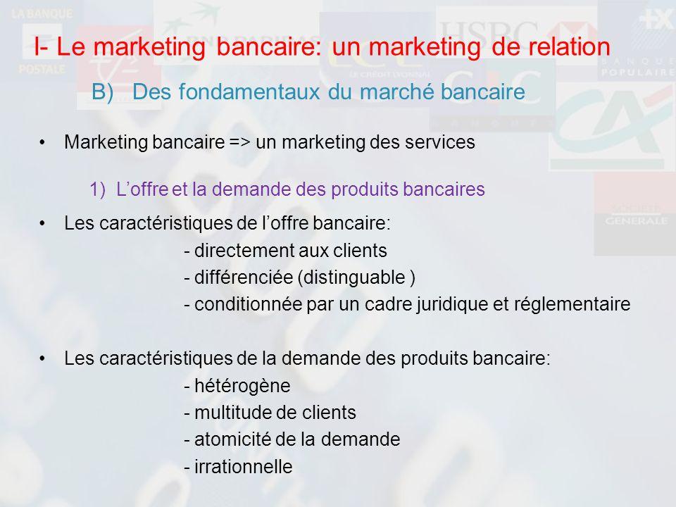 Marketing bancaire => un marketing des services Les caractéristiques de loffre bancaire: - directement aux clients - différenciée (distinguable ) - co