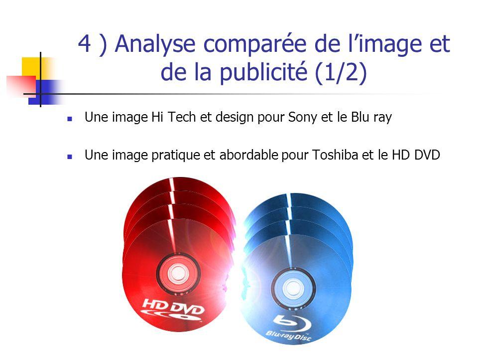 4 ) Analyse comparée de limage et de la publicité (1/2) Une image Hi Tech et design pour Sony et le Blu ray Une image pratique et abordable pour Toshiba et le HD DVD