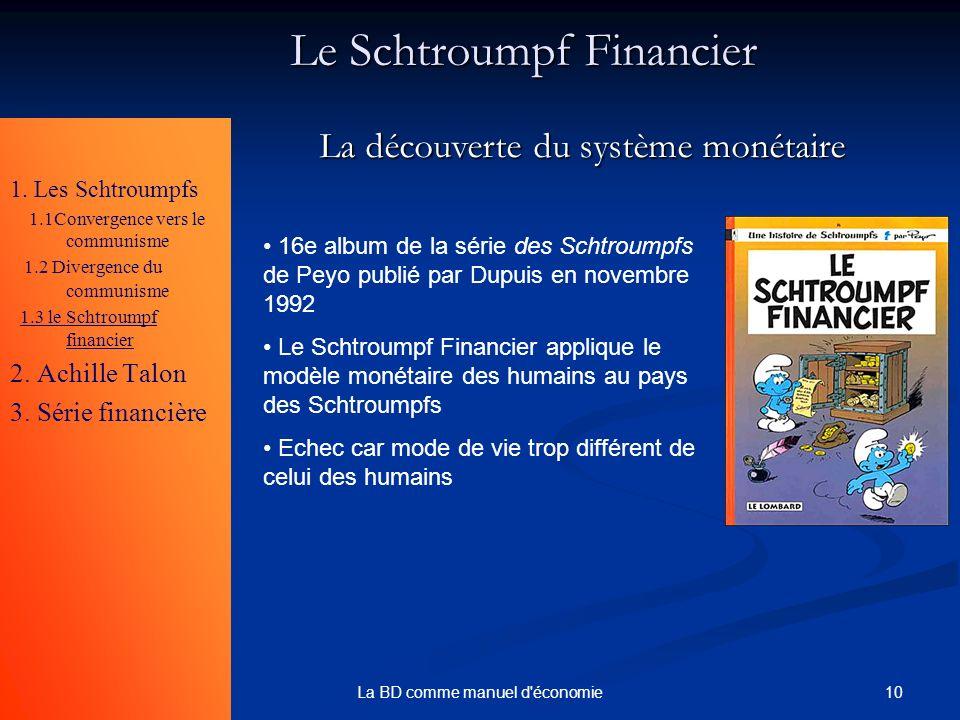 10La BD comme manuel d'économie Le Schtroumpf Financier 1. Les Schtroumpfs 1.1Convergence vers le communisme 1.2 Divergence du communisme 1.3 le Schtr