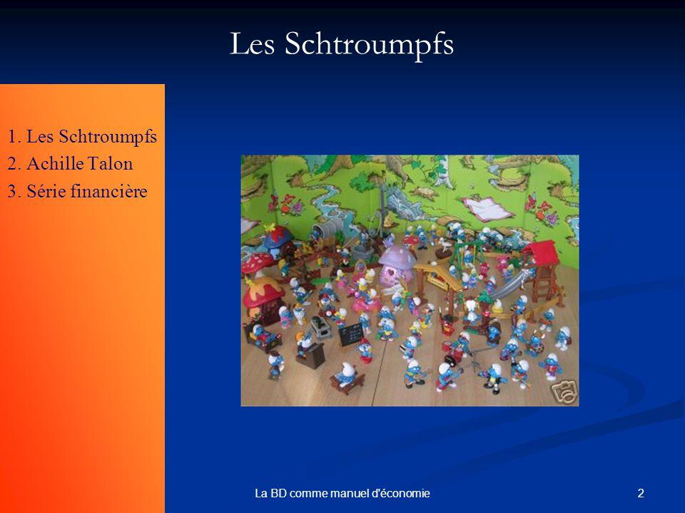 2La BD comme manuel d'économie Les Schtroumpfs 1. Les Schtroumpfs 2. Achille Talon 3. Série financière