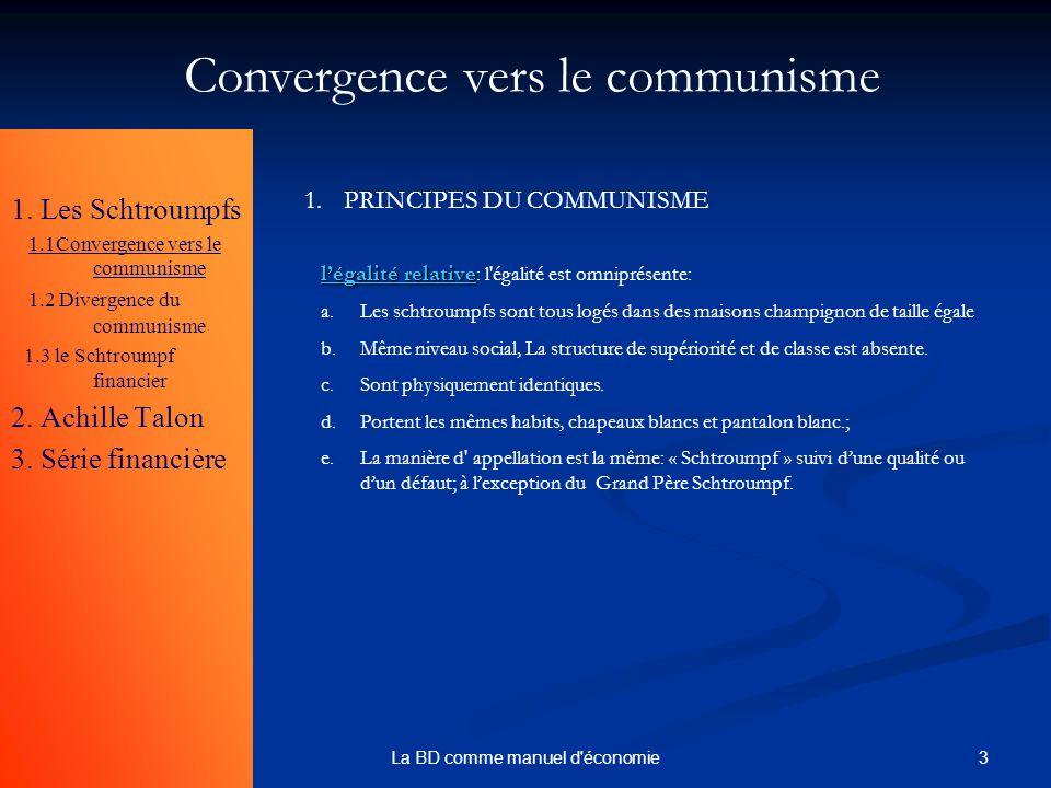 3La BD comme manuel d'économie 1. Les Schtroumpfs 1.1Convergence vers le communisme 1.2 Divergence du communisme 1.3 le Schtroumpf financier 2. Achill