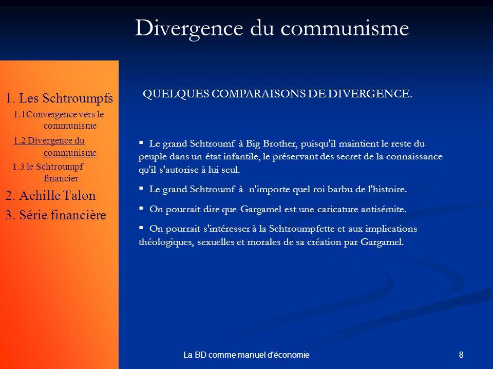 8La BD comme manuel d'économie 1. Les Schtroumpfs 1.1Convergence vers le communisme 1.2 Divergence du communisme 1.3 le Schtroumpf financier 2. Achill
