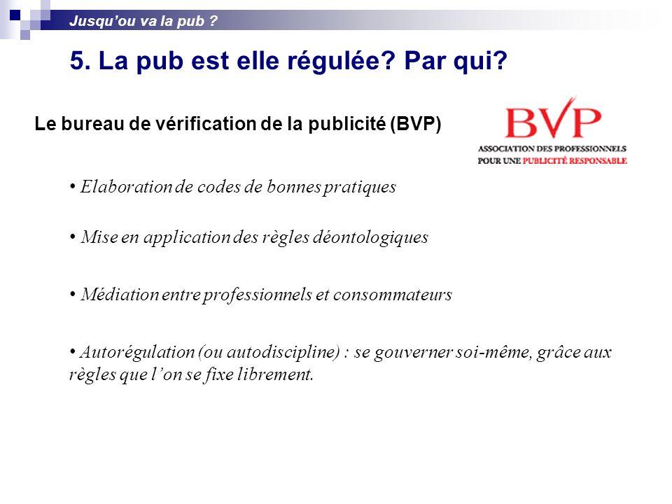 Le bureau de vérification de la publicité (BVP) Elaboration de codes de bonnes pratiques Mise en application des règles déontologiques Médiation entre