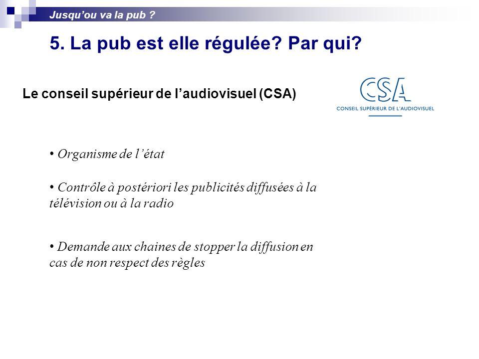 Le conseil supérieur de laudiovisuel (CSA) Organisme de létat Contrôle à postériori les publicités diffusées à la télévision ou à la radio Demande aux