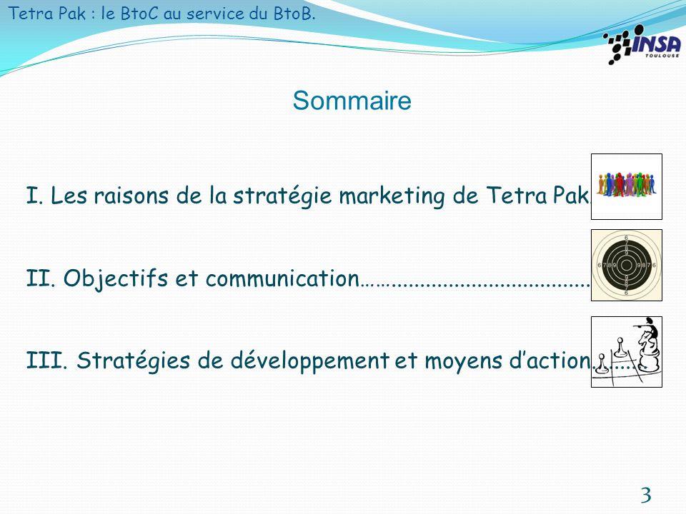 4 Les raisons de la stratégie marketing de Tetra Pak Objectifs et communication Stratégies de développement et moyens daction les raisons de la stratégie de Tetra Pak Tetra Pak : le B to C au service du B to B.