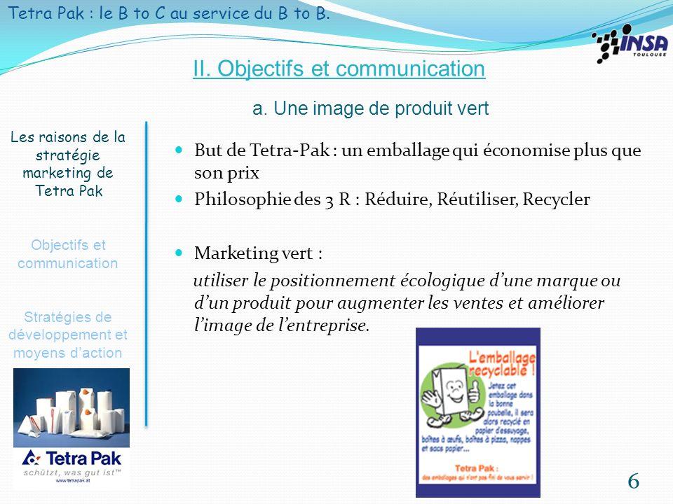 7 Les raisons de la stratégie marketing de Tetra Pak Objectifs et communication Stratégies de développement et moyens daction Tetra Pak : le BtoC au service du BtoB.