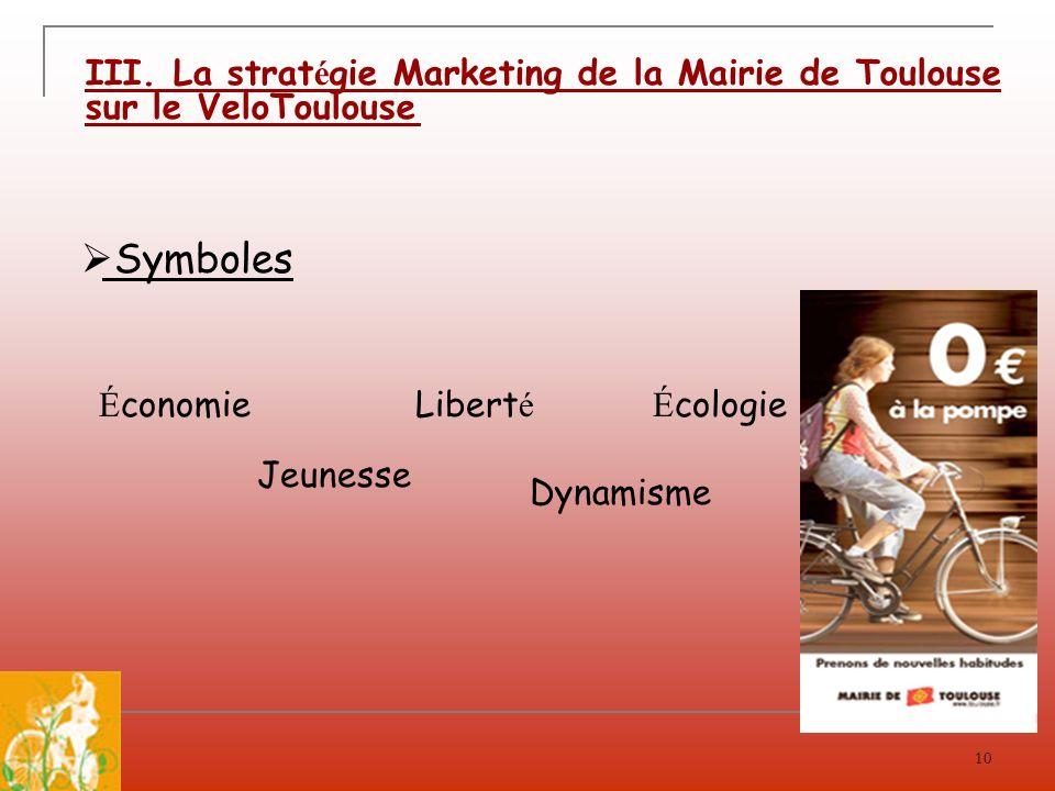 10 III. La strat é gie Marketing de la Mairie de Toulouse sur le VeloToulouse Symboles É cologieLibert é Dynamisme Jeunesse É conomie