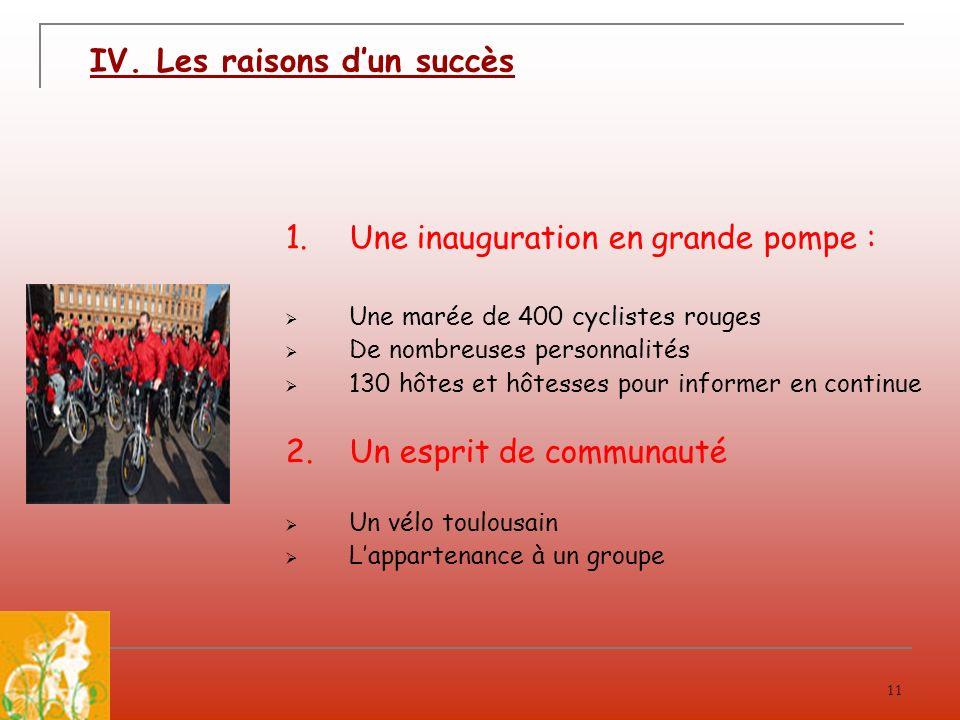 11 IV. Les raisons dun succès 1.Une inauguration en grande pompe : Une marée de 400 cyclistes rouges De nombreuses personnalités 130 hôtes et hôtesses