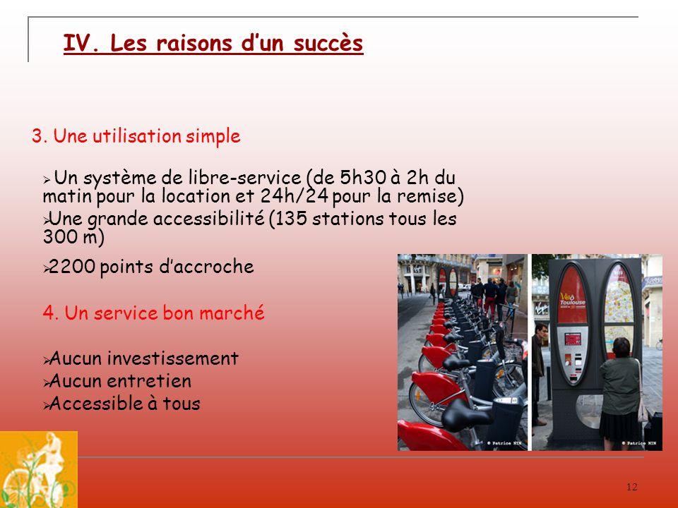 12 3. Une utilisation simple Un système de libre-service (de 5h30 à 2h du matin pour la location et 24h/24 pour la remise) Une grande accessibilité (1