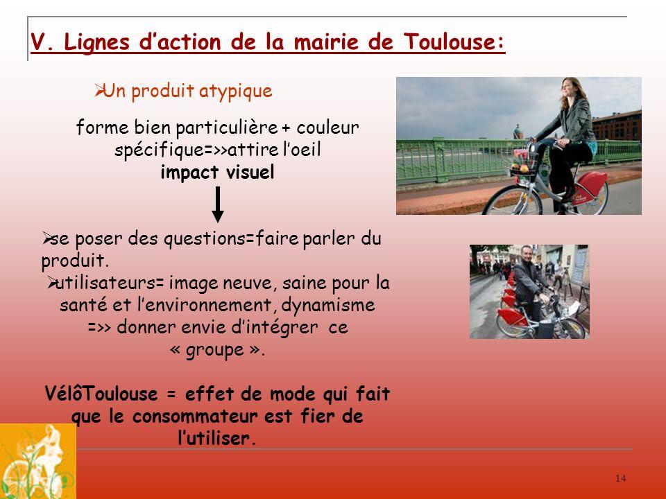 14 V. Lignes daction de la mairie de Toulouse: Un produit atypique forme bien particulière + couleur spécifique=>>attire loeil impact visuel se poser