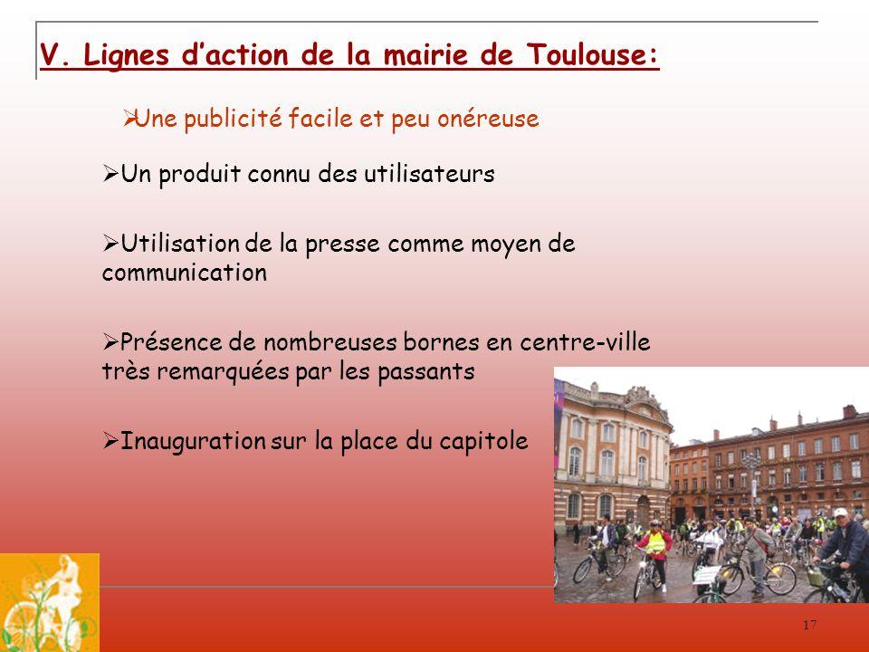 17 V. Lignes daction de la mairie de Toulouse: Une publicité facile et peu onéreuse Un produit connu des utilisateurs Utilisation de la presse comme m