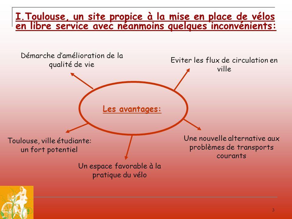 3 I.Toulouse, un site propice à la mise en place de vélos en libre service avec néanmoins quelques inconvénients: Les avantages: Eviter les flux de ci