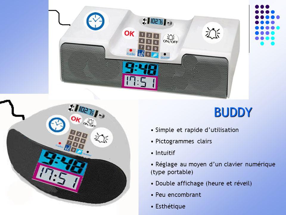 Simple et rapide dutilisation Pictogrammes clairs Intuitif Réglage au moyen dun clavier numérique (type portable) Double affichage (heure et réveil) P
