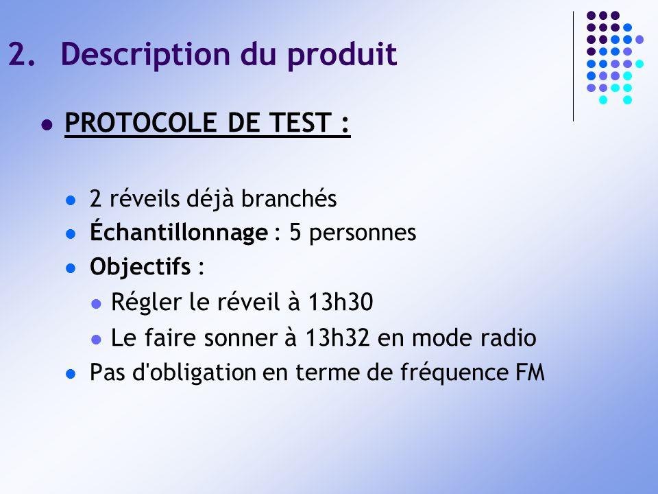 2.Description du produit PROTOCOLE DE TEST : 2 réveils déjà branchés Échantillonnage : 5 personnes Objectifs : Régler le réveil à 13h30 Le faire sonne