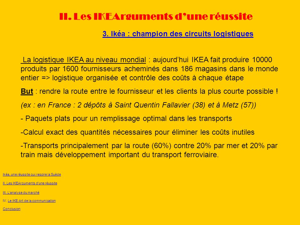 3. Ikéa : champion des circuits logistiques II. Les IKEArguments dune réussite La logistique IKEA au niveau mondial : aujourdhui IKEA fait produire 10