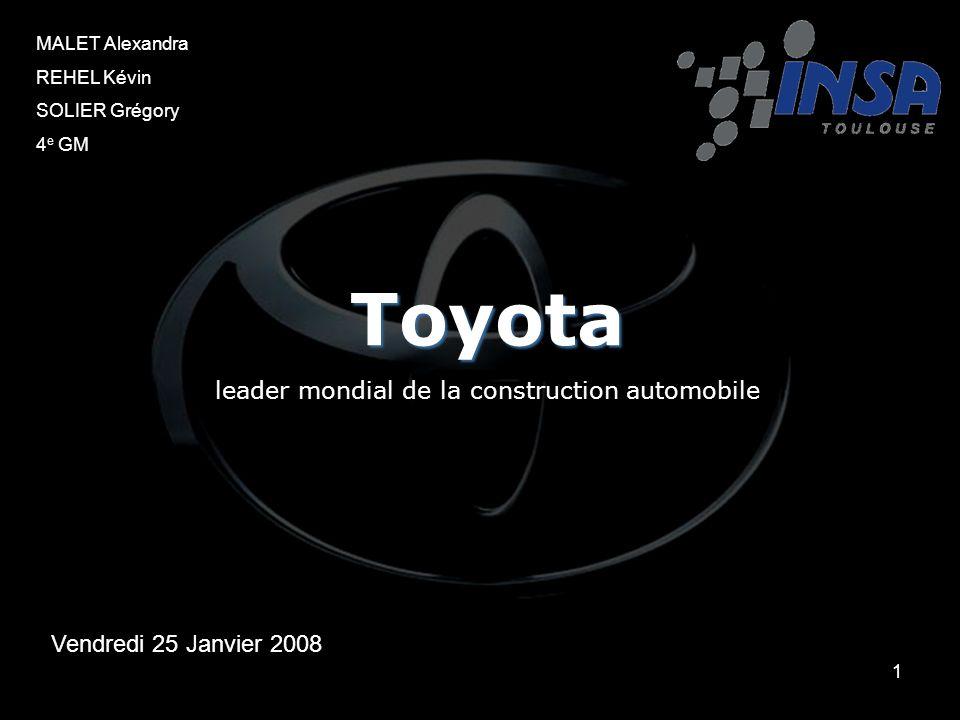1 MALET Alexandra REHEL Kévin SOLIER Grégory 4 e GM Toyota leader mondial de la construction automobile Vendredi 25 Janvier 2008