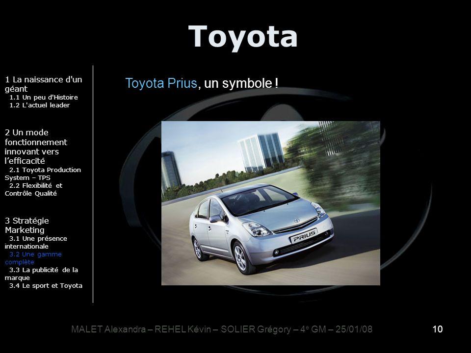 10 Toyota 1 La naissance d'un géant 1.1 Un peu d'Histoire 1.2 L'actuel leader 2 Un mode fonctionnement innovant vers lefficacité 2.1 Toyota Production