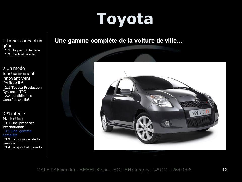 12 Toyota 1 La naissance d'un géant 1.1 Un peu d'Histoire 1.2 L'actuel leader 2 Un mode fonctionnement innovant vers lefficacité 2.1 Toyota Production