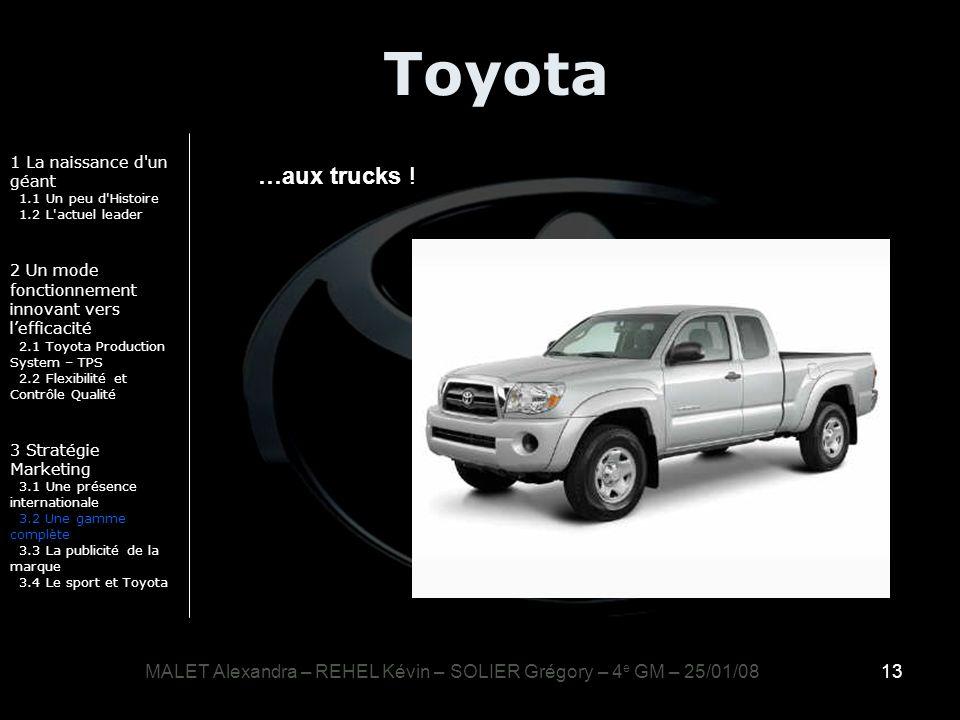 13 Toyota 1 La naissance d'un géant 1.1 Un peu d'Histoire 1.2 L'actuel leader 2 Un mode fonctionnement innovant vers lefficacité 2.1 Toyota Production
