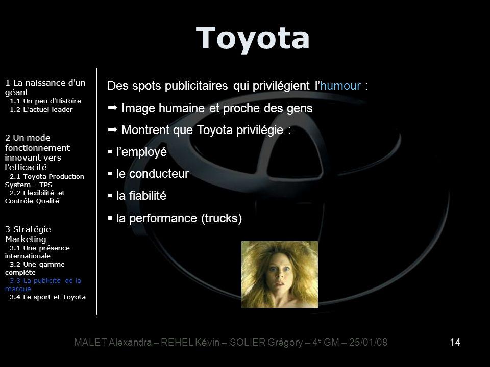14 Toyota 1 La naissance d'un géant 1.1 Un peu d'Histoire 1.2 L'actuel leader 2 Un mode fonctionnement innovant vers lefficacité 2.1 Toyota Production