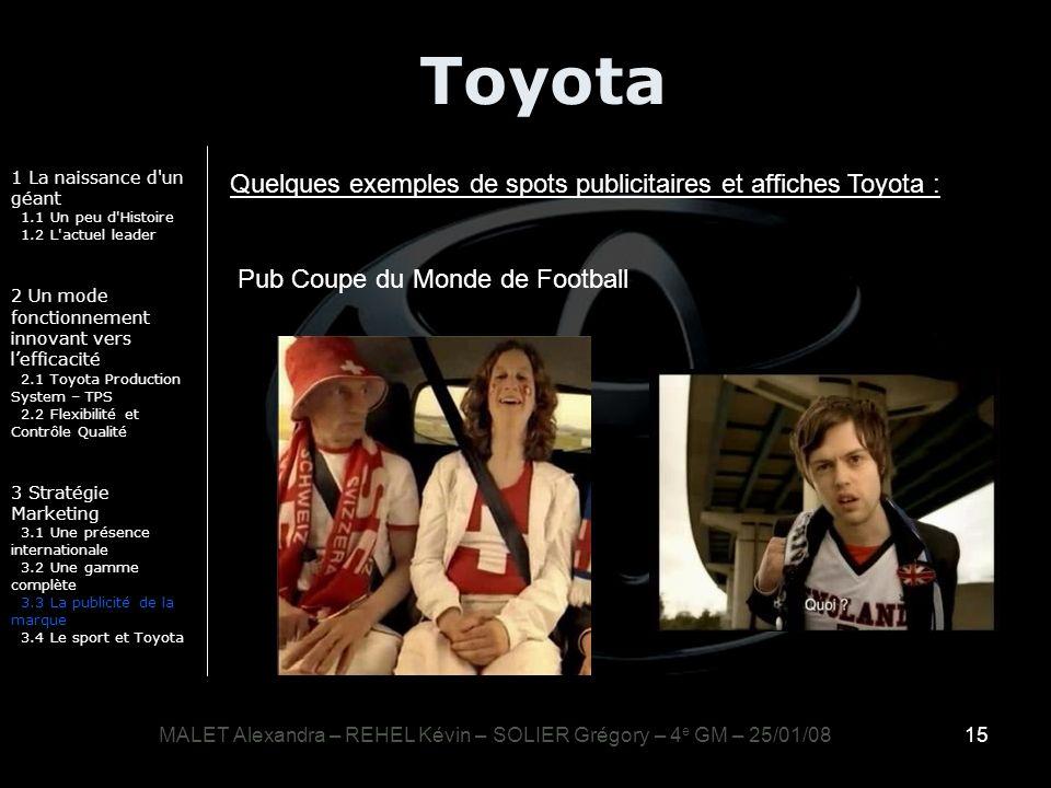 15 Toyota 1 La naissance d'un géant 1.1 Un peu d'Histoire 1.2 L'actuel leader 2 Un mode fonctionnement innovant vers lefficacité 2.1 Toyota Production