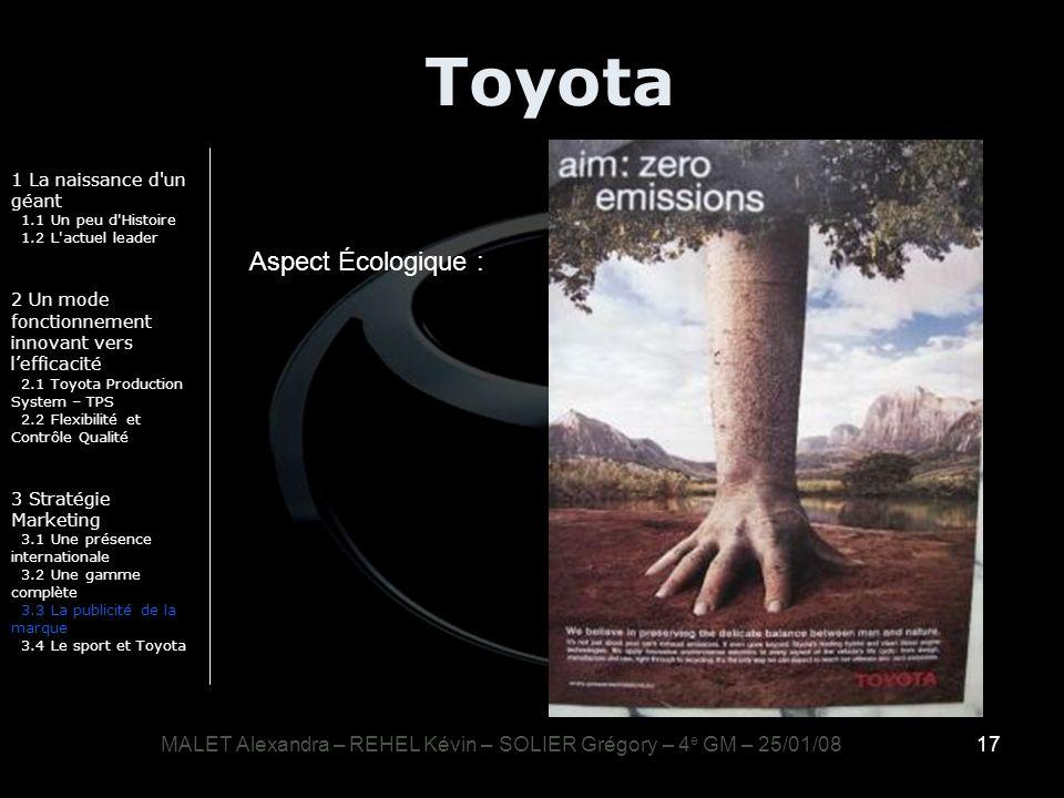 17 Toyota 1 La naissance d'un géant 1.1 Un peu d'Histoire 1.2 L'actuel leader 2 Un mode fonctionnement innovant vers lefficacité 2.1 Toyota Production