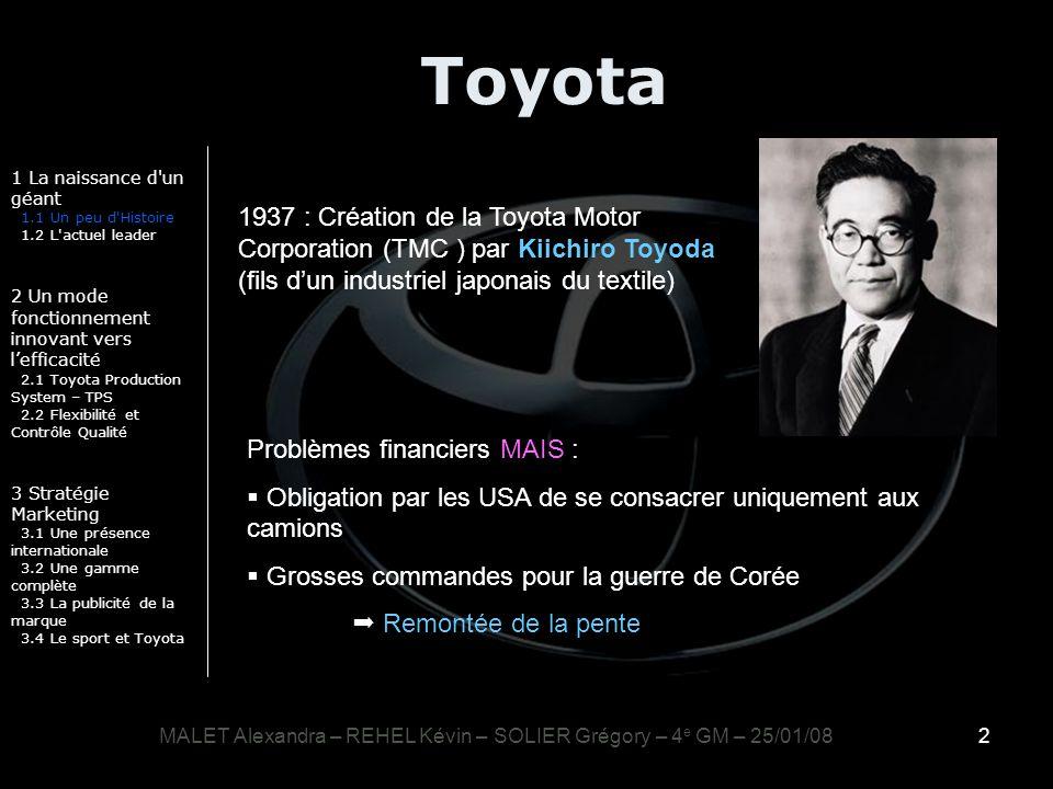 2 Toyota 1 La naissance d'un géant 1.1 Un peu d'Histoire 1.2 L'actuel leader 2 Un mode fonctionnement innovant vers lefficacité 2.1 Toyota Production