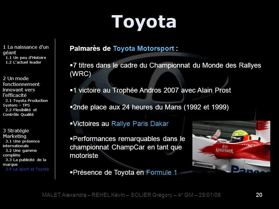 20 Toyota 1 La naissance d'un géant 1.1 Un peu d'Histoire 1.2 L'actuel leader 2 Un mode fonctionnement innovant vers lefficacité 2.1 Toyota Production