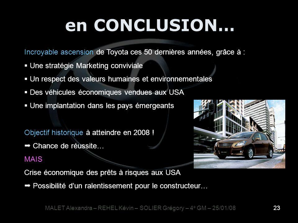23 MALET Alexandra – REHEL Kévin – SOLIER Grégory – 4 e GM – 25/01/08 Incroyable ascension de Toyota ces 50 dernières années, grâce à : Une stratégie