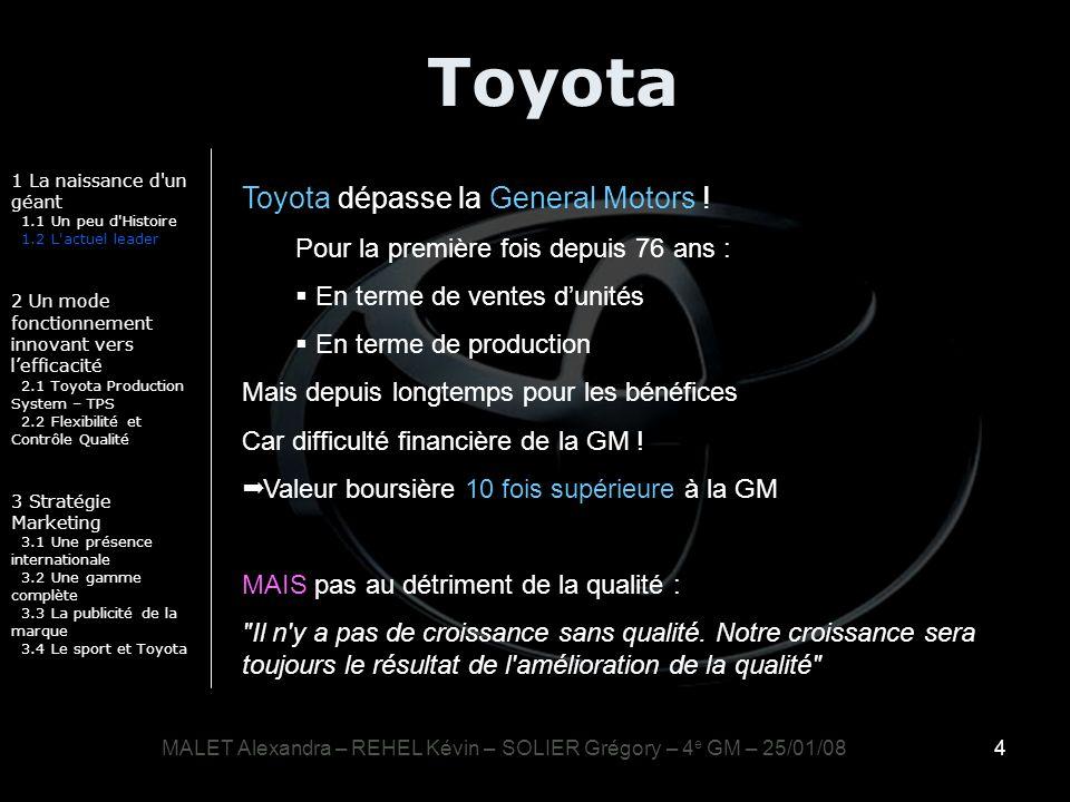 4 Toyota 1 La naissance d'un géant 1.1 Un peu d'Histoire 1.2 L'actuel leader 2 Un mode fonctionnement innovant vers lefficacité 2.1 Toyota Production