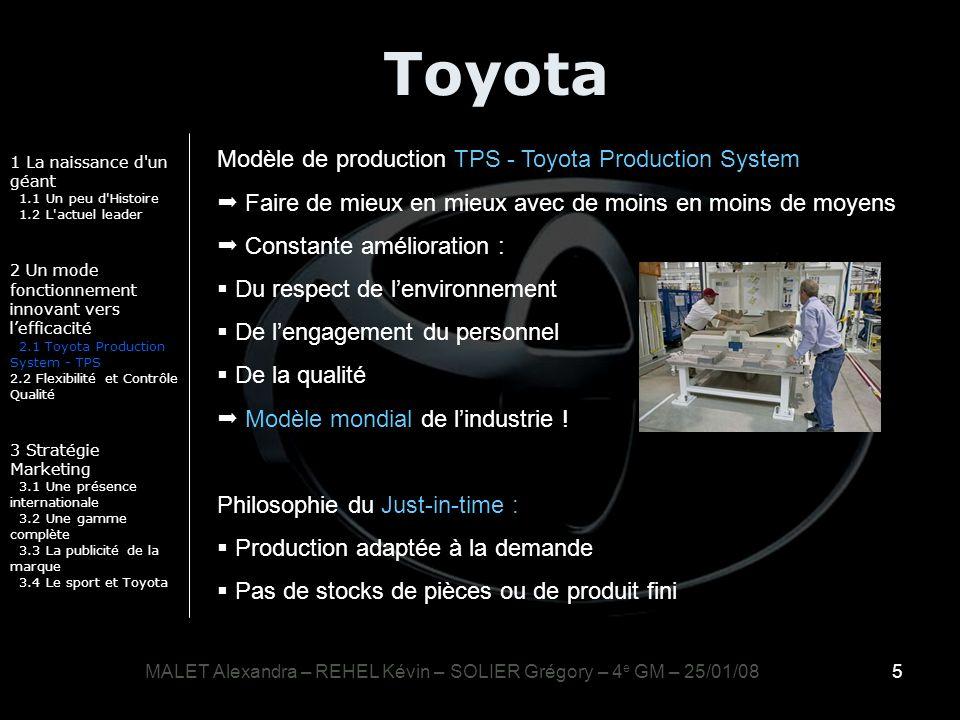 5 Toyota 1 La naissance d'un géant 1.1 Un peu d'Histoire 1.2 L'actuel leader 2 Un mode fonctionnement innovant vers lefficacité 2.1 Toyota Production