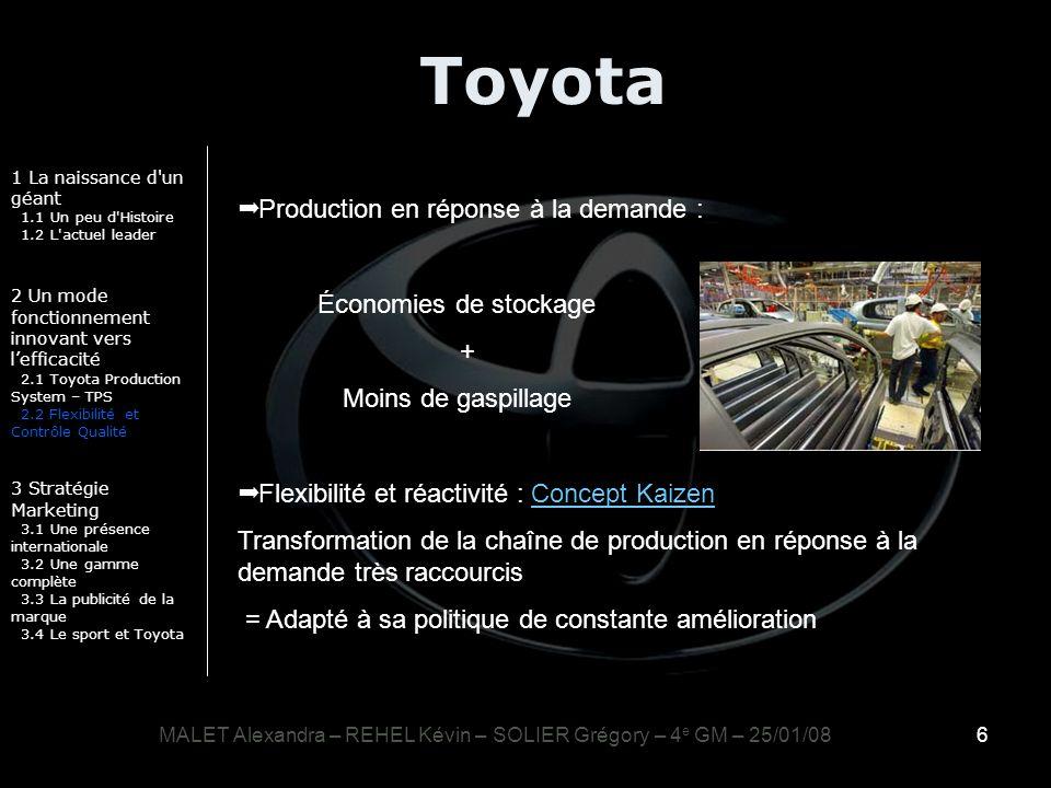 6 Toyota 1 La naissance d'un géant 1.1 Un peu d'Histoire 1.2 L'actuel leader 2 Un mode fonctionnement innovant vers lefficacité 2.1 Toyota Production