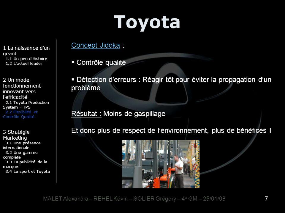 7 Toyota 1 La naissance d'un géant 1.1 Un peu d'Histoire 1.2 L'actuel leader 2 Un mode fonctionnement innovant vers lefficacité 2.1 Toyota Production