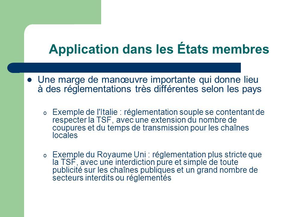 Application dans les États membres o Exemple de l'Italie : réglementation souple se contentant de respecter la TSF, avec une extension du nombre de co