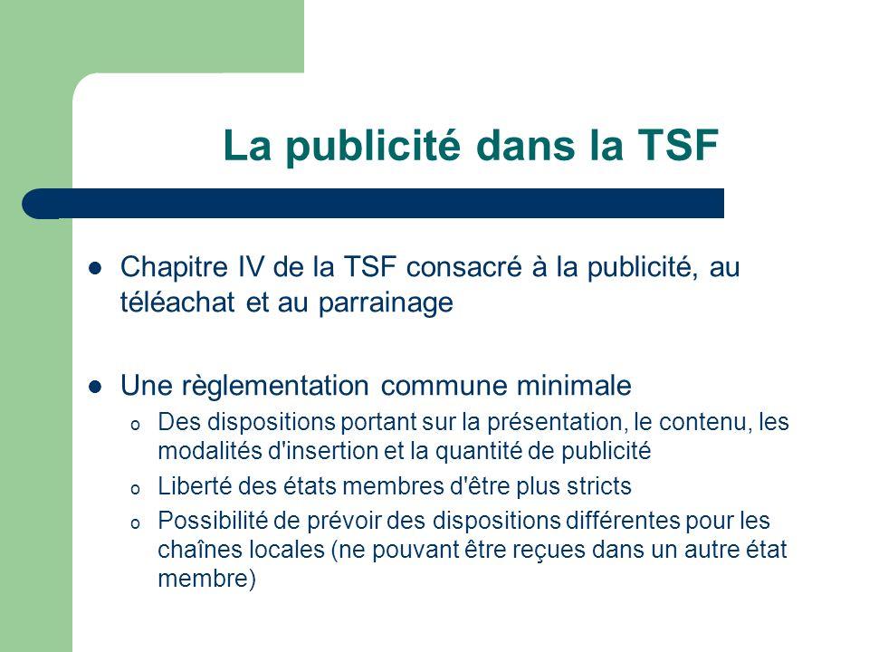 La publicité dans la TSF Chapitre IV de la TSF consacré à la publicité, au téléachat et au parrainage Une règlementation commune minimale o Des dispos