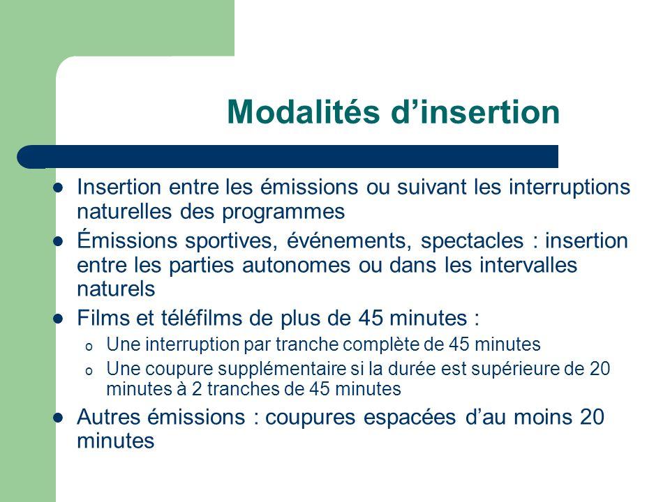 Modalités dinsertion Insertion entre les émissions ou suivant les interruptions naturelles des programmes Émissions sportives, événements, spectacles