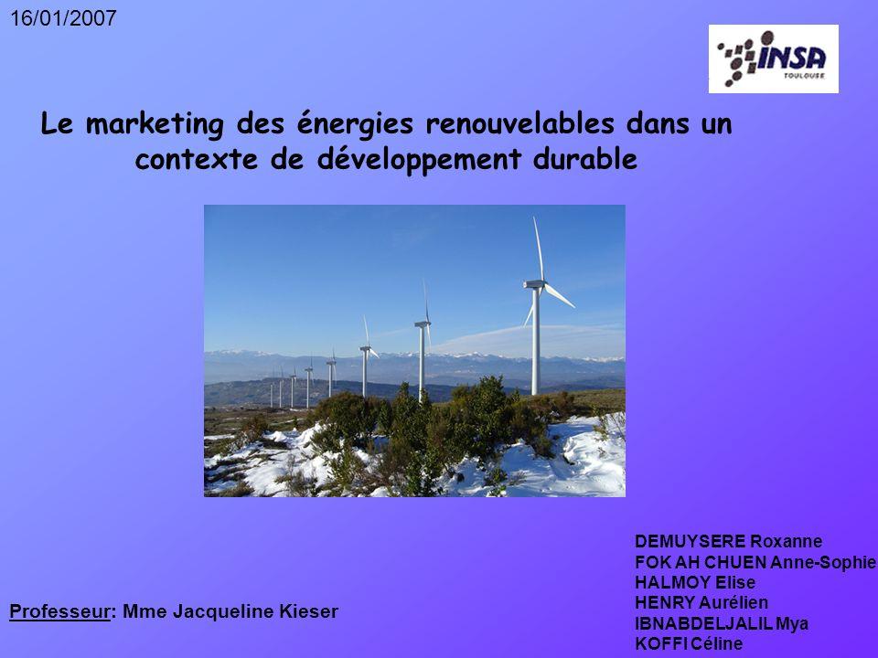 2 I)Marketing des énergies renouvelables: quel intérêt.
