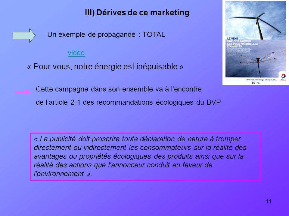 11 Un exemple de propagande : TOTAL « Pour vous, notre énergie est inépuisable » « La publicité doit proscrire toute déclaration de nature à tromper d