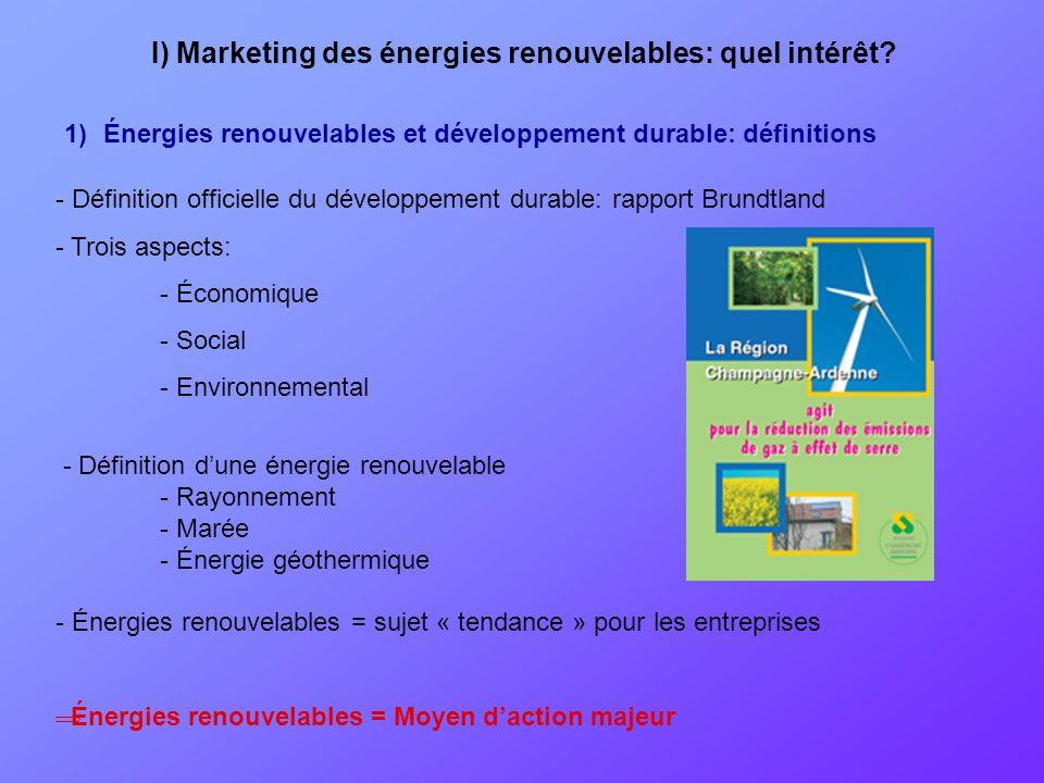 1)Énergies renouvelables et développement durable: définitions - Définition officielle du développement durable: rapport Brundtland - Trois aspects: -