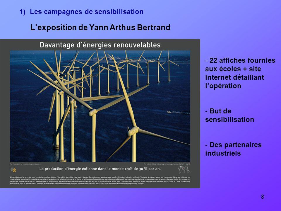 8 Lexposition de Yann Arthus Bertrand - 22 affiches fournies aux écoles + site internet détaillant lopération - But de sensibilisation - Des partenair
