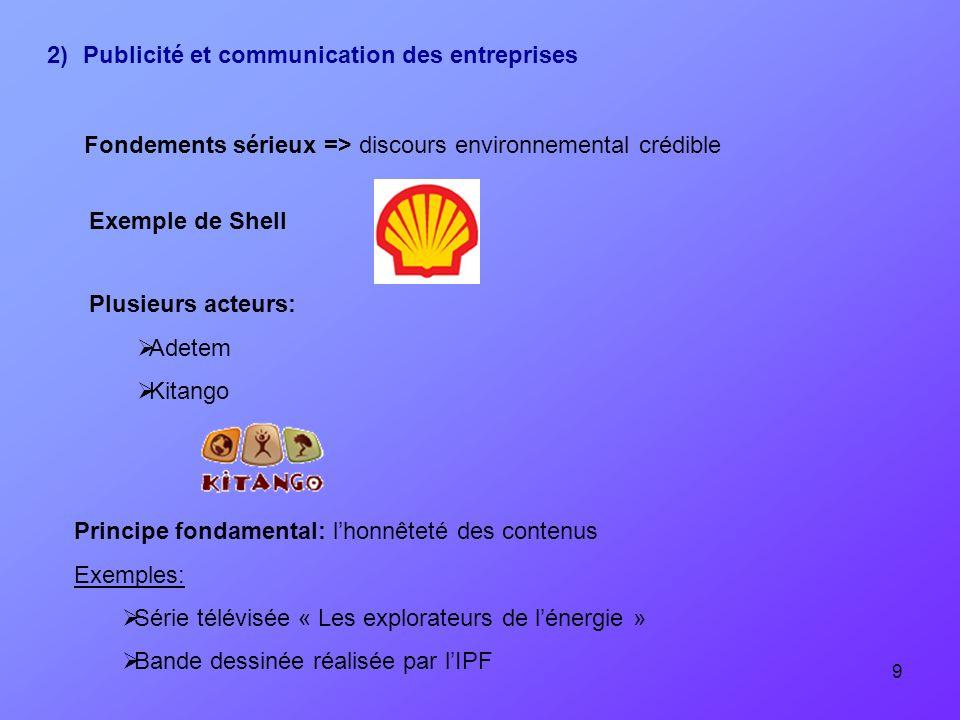 9 2)Publicité et communication des entreprises Exemple de Shell Plusieurs acteurs: Adetem Kitango Principe fondamental: lhonnêteté des contenus Exempl