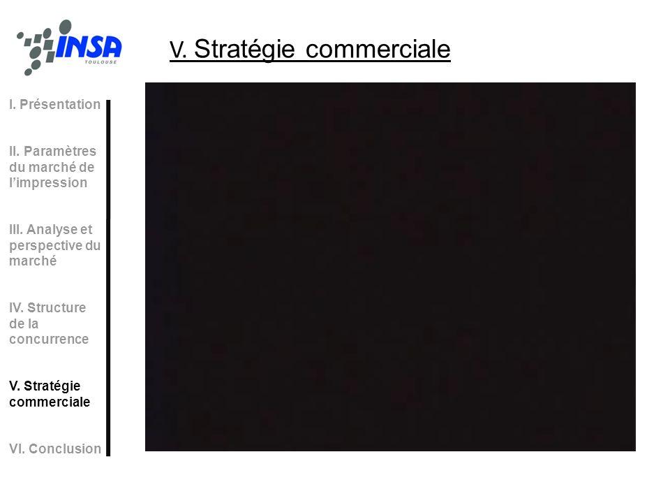 V. Stratégie commerciale I. Présentation II. Paramètres du marché de limpression III. Analyse et perspective du marché IV. Structure de la concurrence