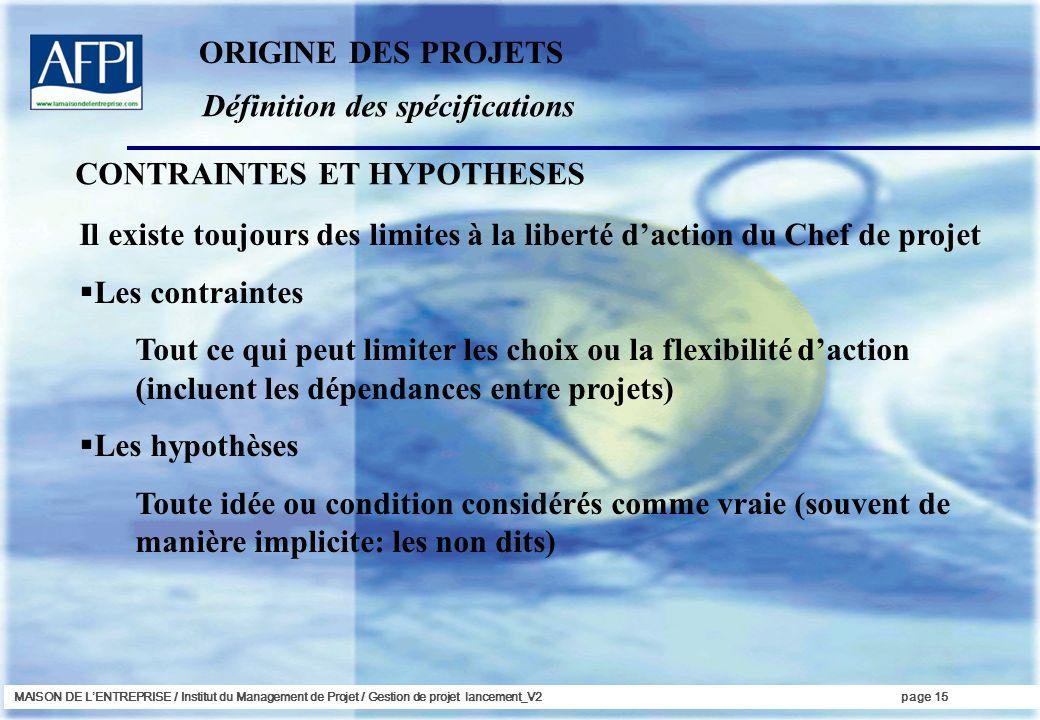 MAISON DE LENTREPRISE / Institut du Management de Projet / Gestion de projet lancement_V2page 15 Définition des spécifications ORIGINE DES PROJETS CON