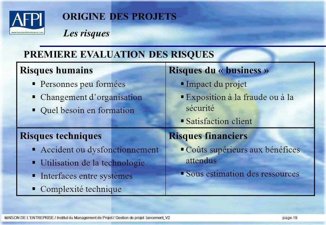 MAISON DE LENTREPRISE / Institut du Management de Projet / Gestion de projet lancement_V2page 19 Les risques ORIGINE DES PROJETS PREMIERE EVALUATION D